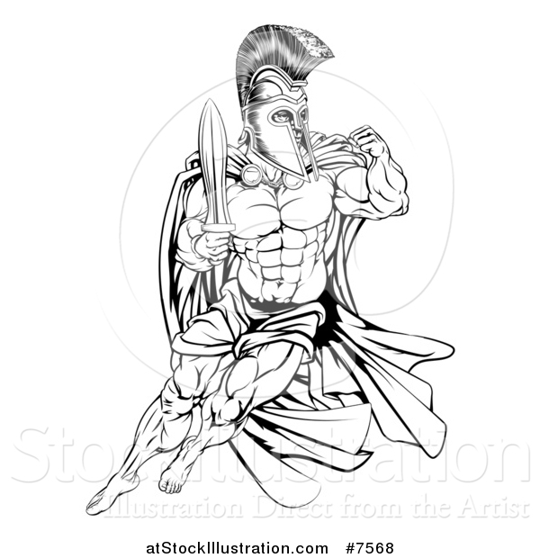 Vector Illustration of a Black and White Muscular Gladiator Man in a Helmet Fighting with a Sword and Holding up a Fist