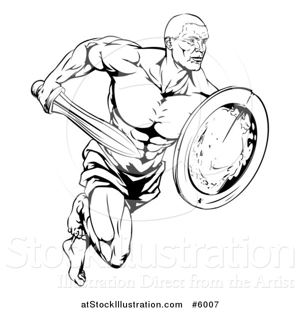 Vector Illustration of a Black and White Muscular Gladiator Running with a Sword