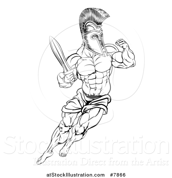Vector Illustration of a Black and White Muscular Gladiator Spartan Man in a Helmet Fighting with a Sword and Holding up a Fist