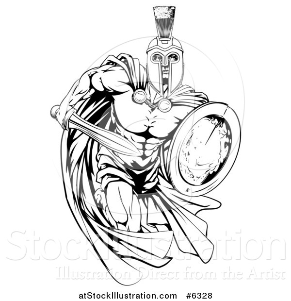 Vector Illustration of a Black and White Muscular Spartan Man in a Cape, Running with a Sword and Shield