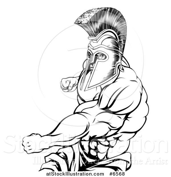 Vector Illustration of a Black and White Muscular Strong Spartan Warrior Mascot Punching