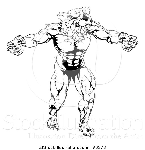 Vector Illustration of a Black and White Muscular Vicious Bear Man with Claws Extended