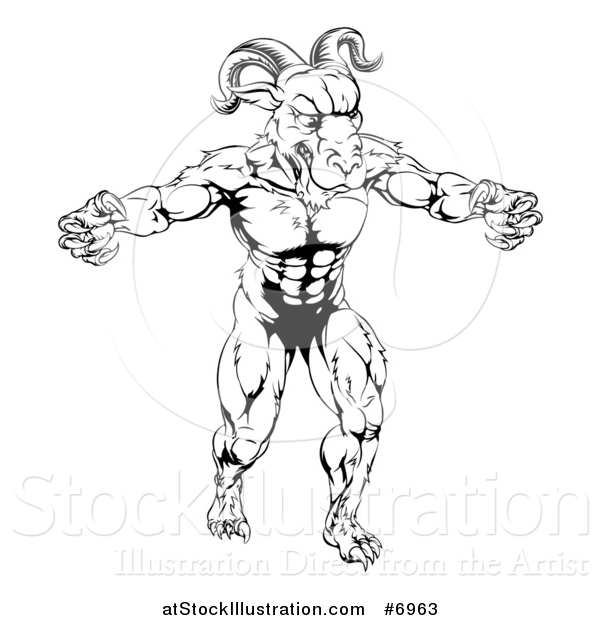 Vector Illustration of a Black and White Muscular Vicious Ram Man with Claws Bared