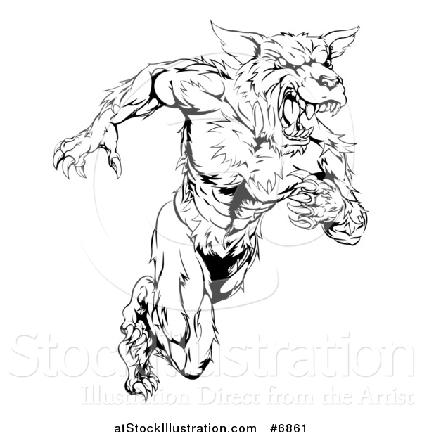 Vector Illustration of a Black and White Muscular Wolf Man Sprinting Upright