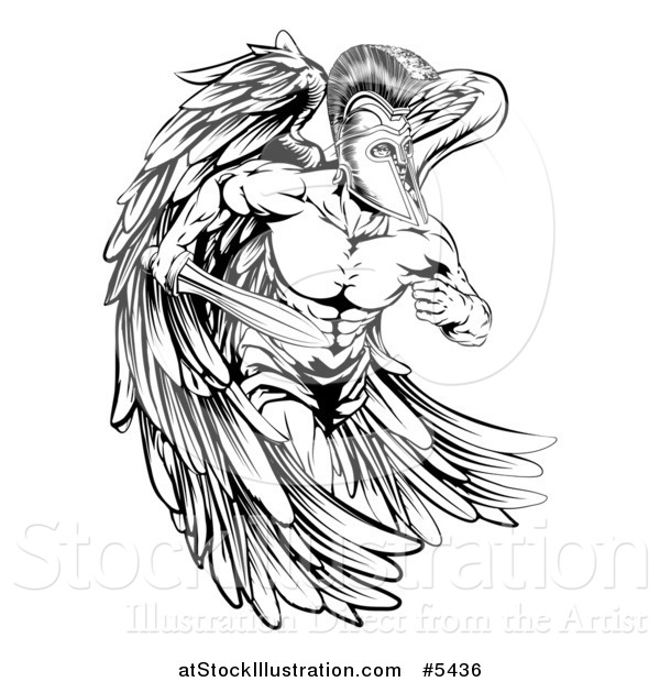 Vector Illustration of a Black and White Musular Spartan Trojan Warrior Angel Mascot Running with a Sword