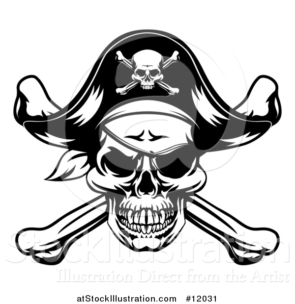 Vector Illustration of a Black and White Oirate Skull and Crossbones Jolly Roger