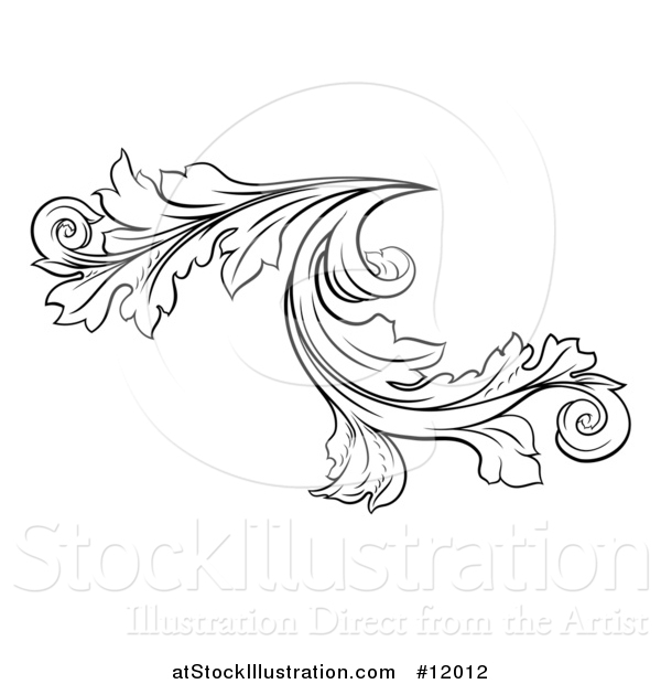 Vector Illustration of a Black and White Ornate Vintage Floral Design Element