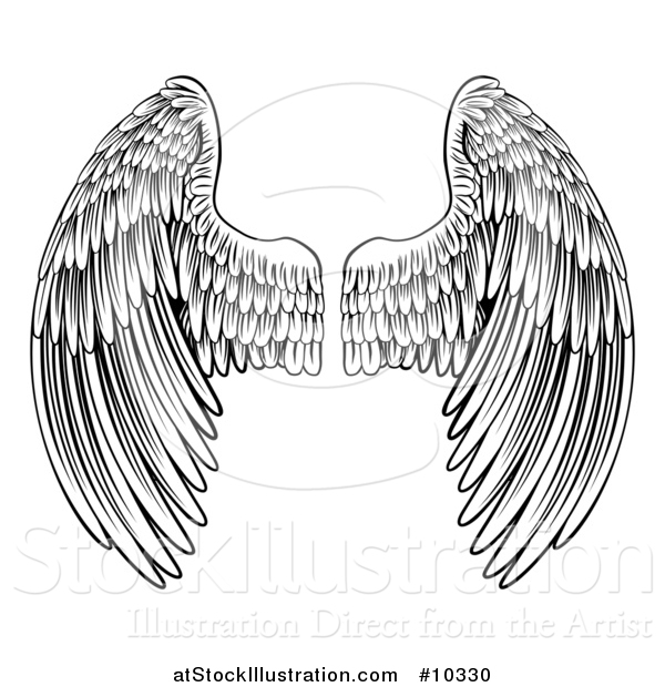 Vector Illustration of a Black and White Pair of Feathered Wings in Woodcut Style