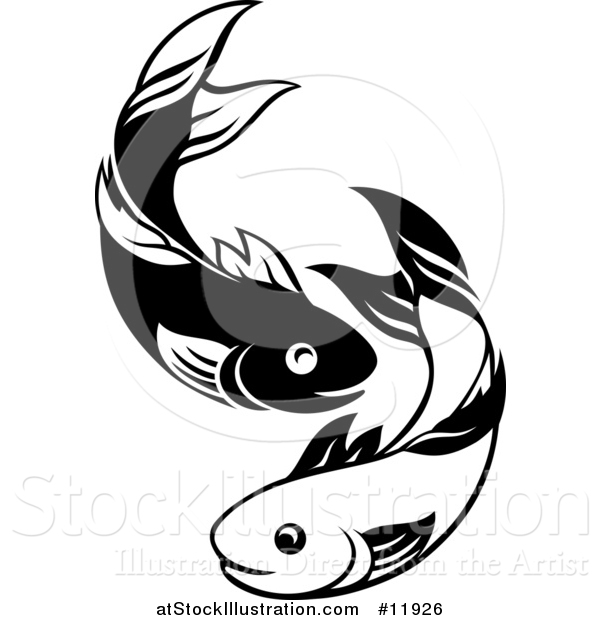 Vector Illustration of a Black and White Pair of Fish