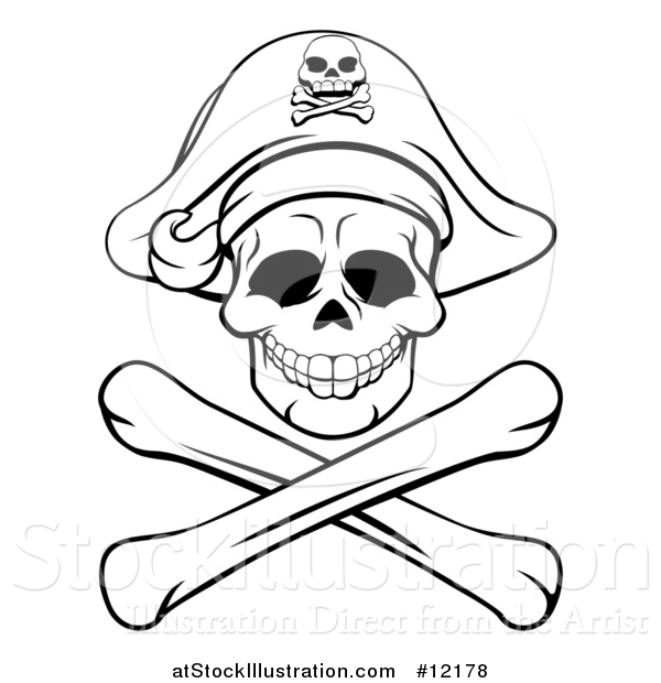 Vector Illustration of a Black and White Pirate Skull and Crossbones Jolly Roger