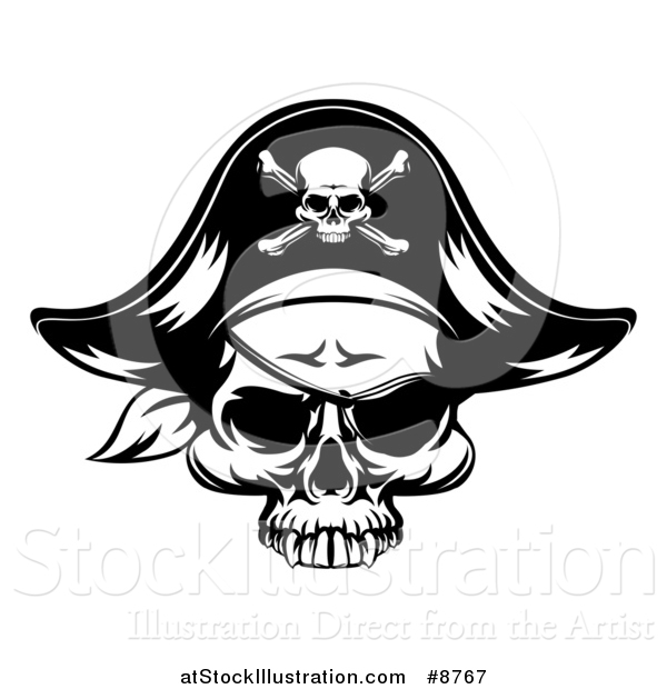 Vector Illustration of a Black and White Pirate Skull Wearing a Patch and Captain Hat