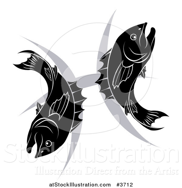 Vector Illustration of a Black and White Pisces Zodiac Astrology Fish and Symbol