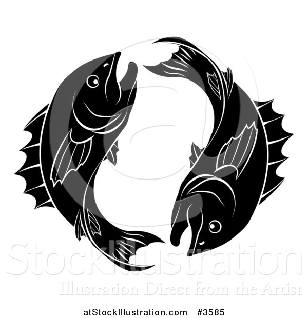 Vector Illustration of a Black and White Pisces Zodiac Astrology Fish