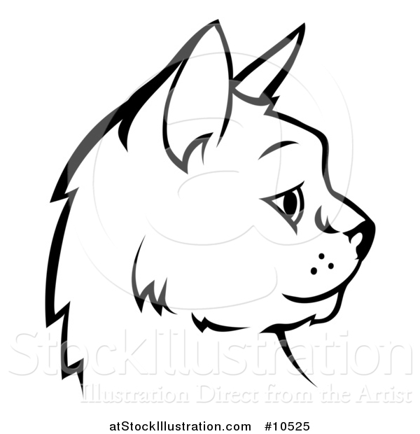 Vector Illustration of a Black and White Profiled Cat Face