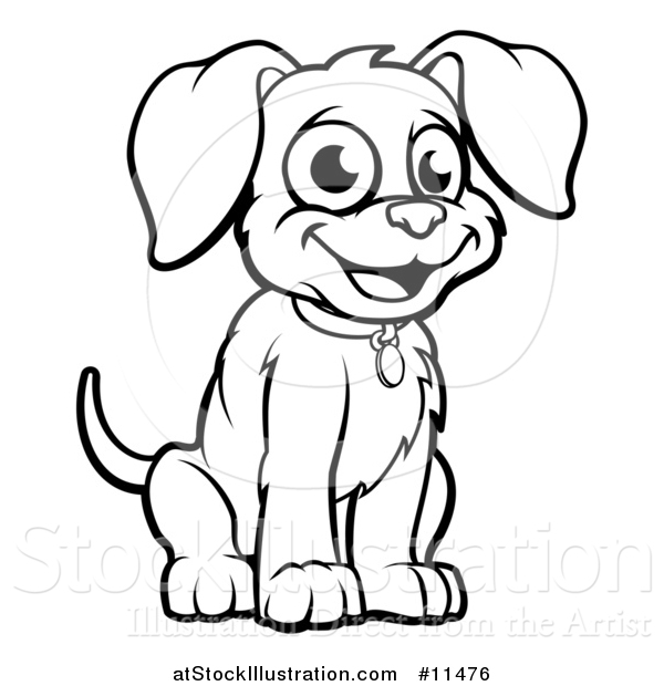 Vector Illustration of a Black and White Puppy Dog