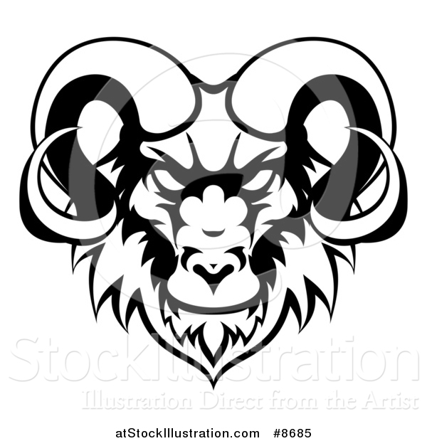 Vector Illustration of a Black and White Ram Head Mascot
