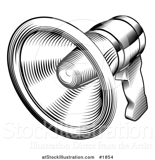 Vector Illustration of a Black and White Retro Megaphone