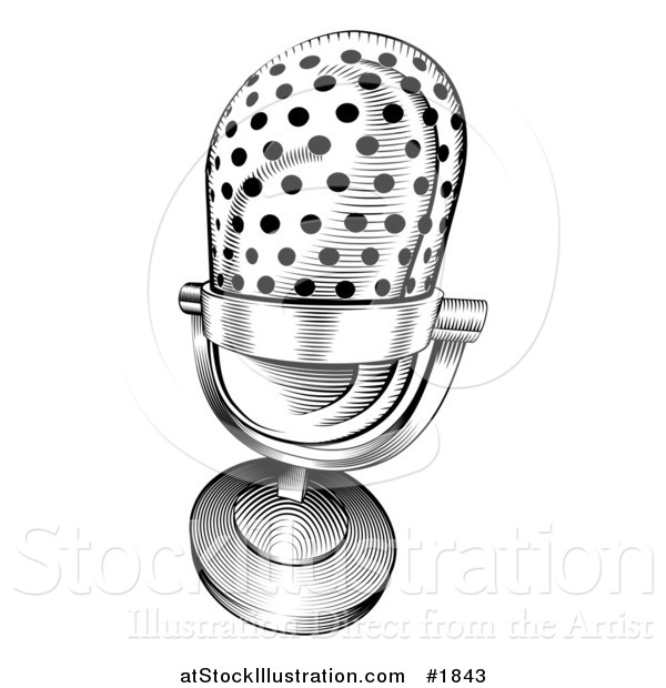 Vector Illustration of a Black and White Retro Microphone