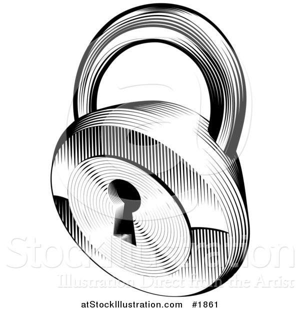 Vector Illustration of a Black and White Retro Padlock