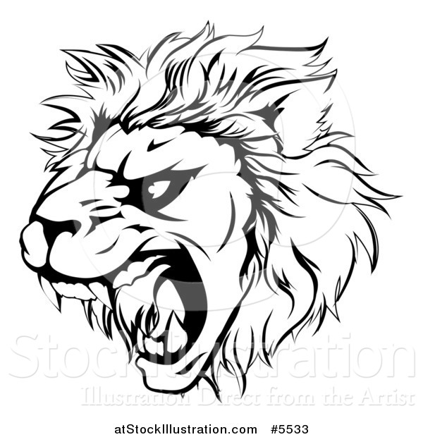 Vector Illustration of a Black and White Roaring Aggressive Lion Mascot Head