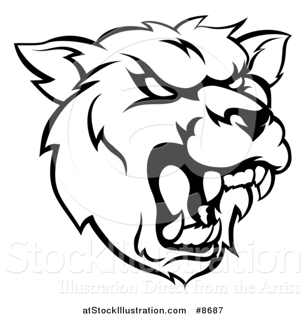 Vector Illustration of a Black and White Roaring Grizzly Bear Mascot Head