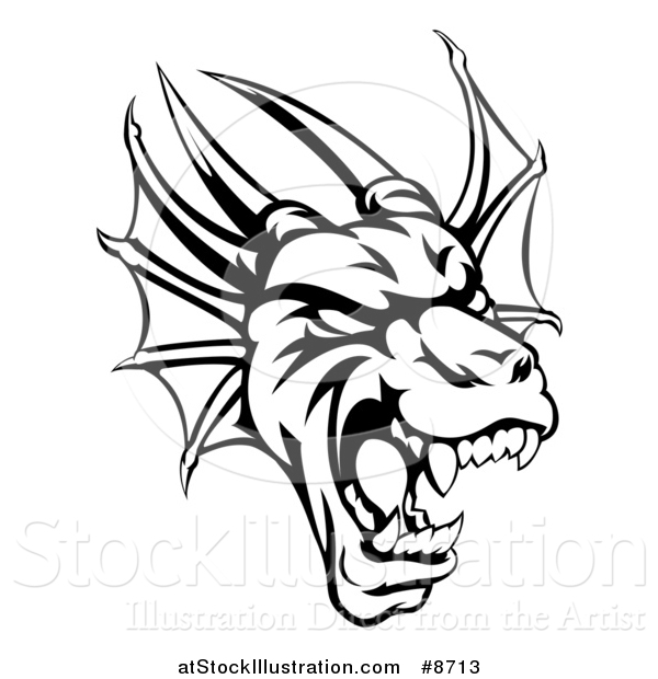 Vector Illustration of a Black and White Roaring Horned Dragon Mascot Head