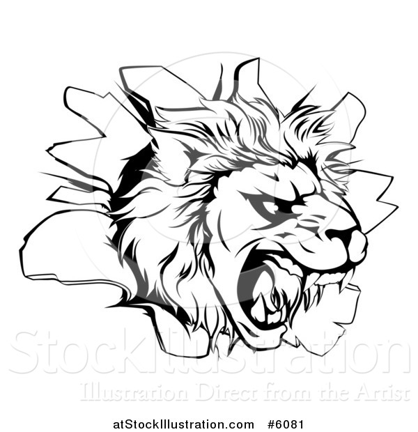 Vector Illustration of a Black and White Roaring Lion Head Breaking Through a Wall