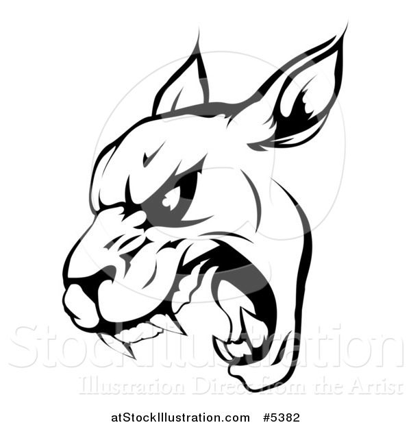 Vector Illustration of a Black and White Roaring Panther Mascot Head