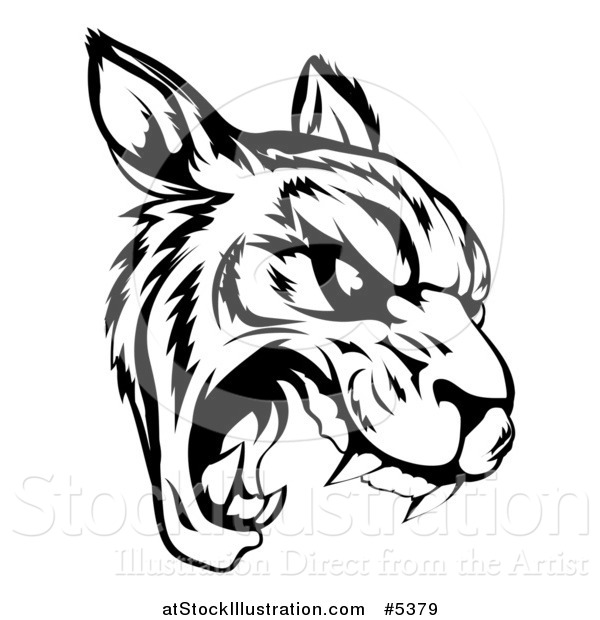 Vector Illustration of a Black and White Roaring Tiger Mascot Head
