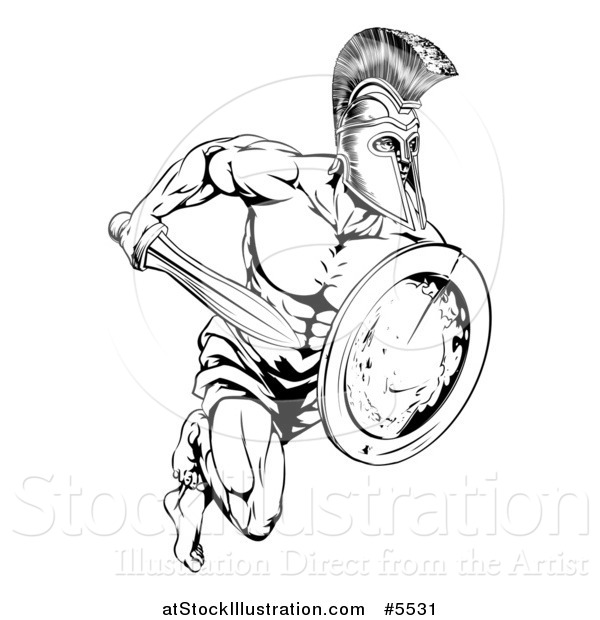 Vector Illustration of a Black and White Running Trojan Gladiator with a Shield and Sword