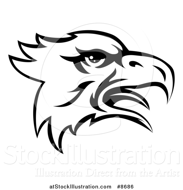 Vector Illustration of a Black and White Screeching Bald Eagle Mascot Head
