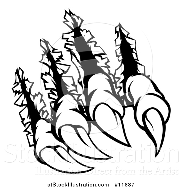 Vector Illustration of a Black and White Sharp Claws Shredding Through Metal