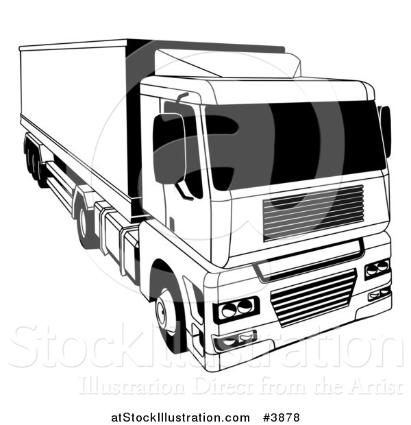 Vector Illustration of a Black and White Shipping Big Rig Truck
