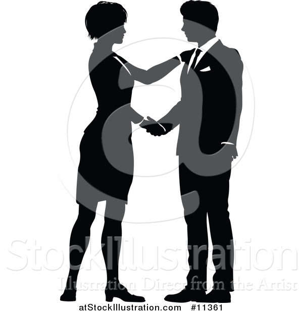 Vector Illustration of a Black and White Silhouetted Business Man and Woman Shaking Hands
