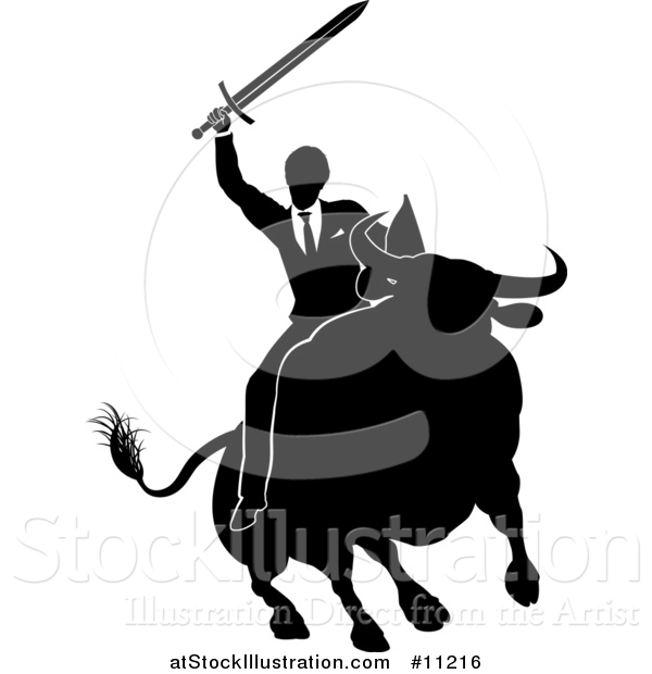 Vector Illustration of a Black and White Silhouetted Business Man Holding a Sword and Riding a Stock Market Bull