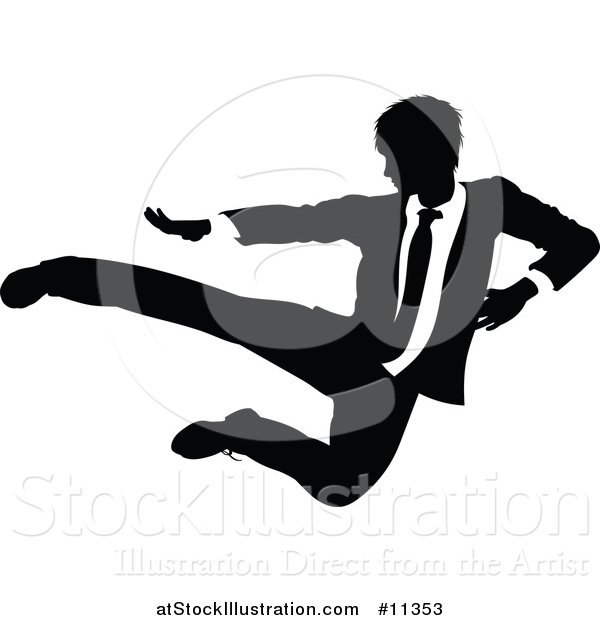 Vector Illustration of a Black and White Silhouetted Business Man Kicking