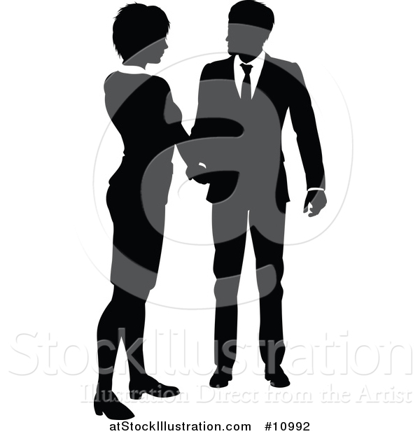 Vector Illustration of a Black and White Silhouetted Business Woman and Man Shaking Hands