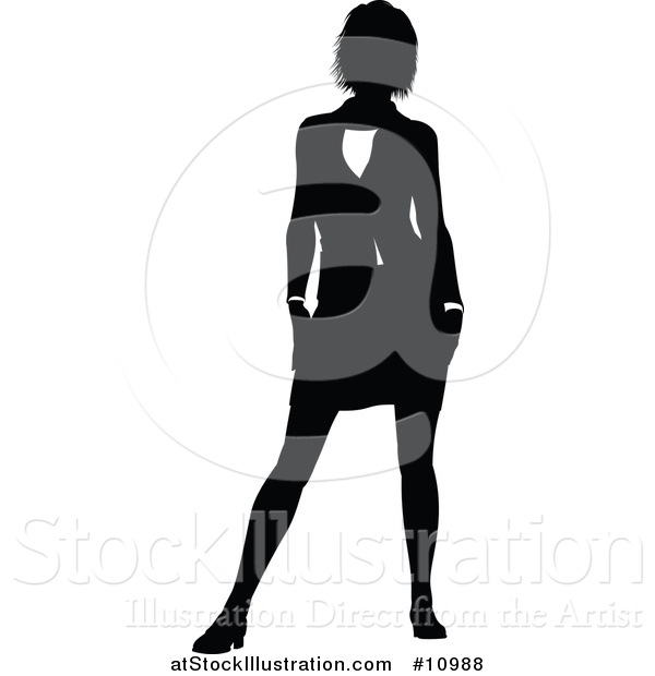 Vector Illustration of a Black and White Silhouetted Business Woman