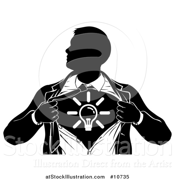 Vector Illustration of a Black and White Silhouetted Creative Super Hero Business Man Ripping His Shirt Open and Revealing a Light Bulb