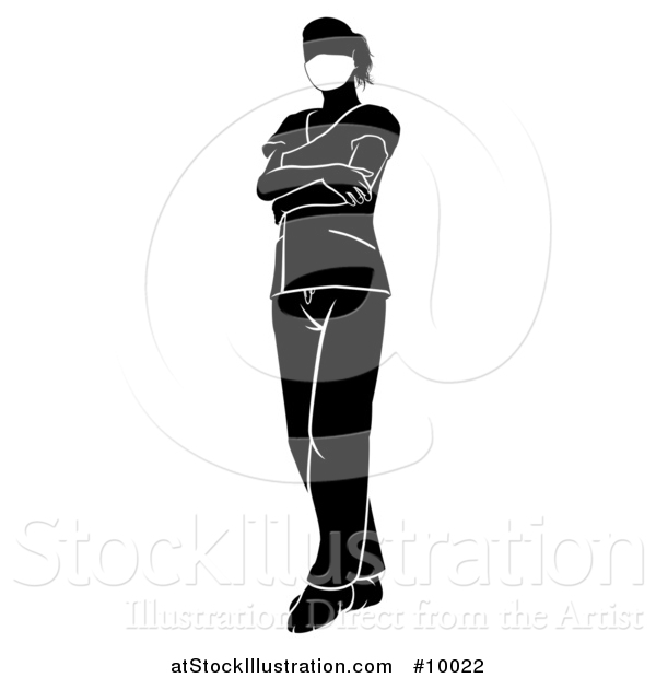 Vector Illustration of a Black and White Silhouetted Female Nurse, Doctor or Surgeon in Scrubs, Standing with Folded Arms