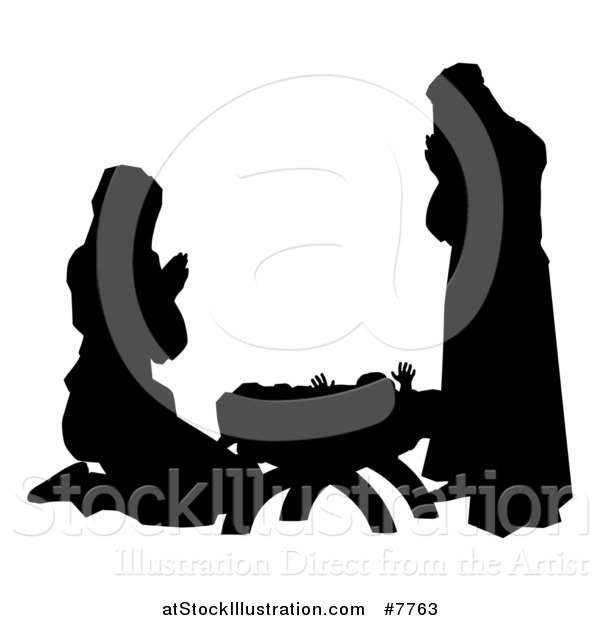 Vector Illustration of a Black and White Silhouetted Mary and Joseph Praying over Baby Jesus