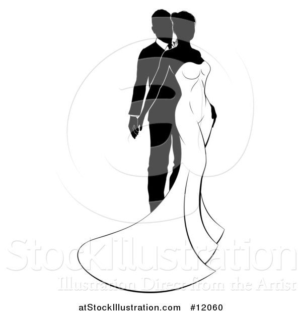 Vector Illustration of a Black and White Silhouetted Posing Wedding Bride and Groom