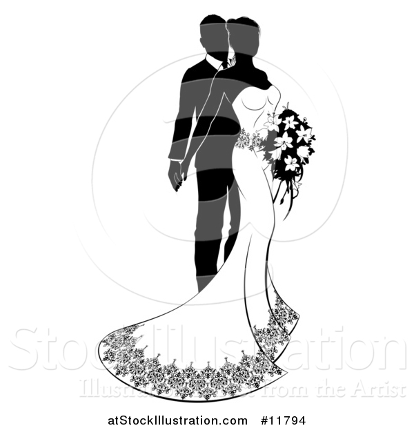 Vector Illustration of a Black and White Silhouetted Posing Wedding Bride and Groom with a Bouquet