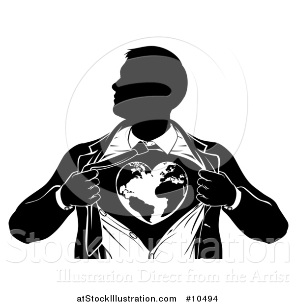 Vector Illustration of a Black and White Silhouetted Strong Business Man Super Hero Ripping off His Suit and Revealing a Heart Earth