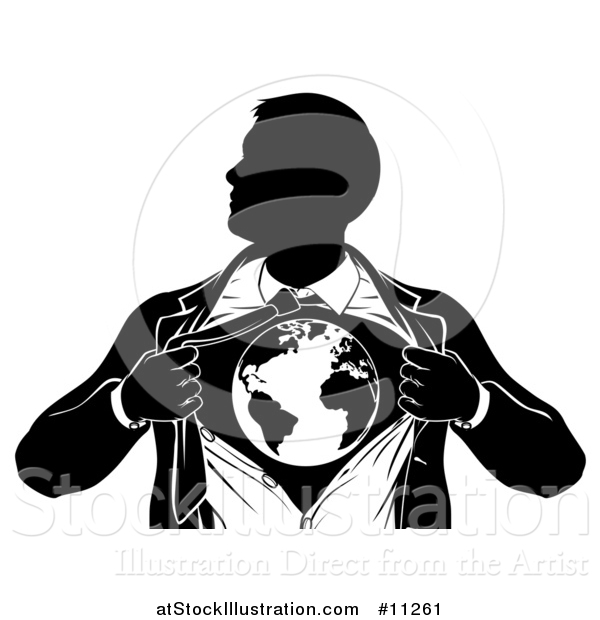 Vector Illustration of a Black and White Silhouetted Strong Business Man Super Hero Ripping off His Suit and Revealing Earth