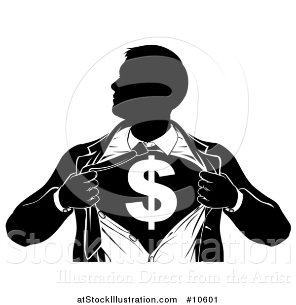 Vector Illustration of a Black and White Silhouetted Strong Business Man Super Hero Ripping off His Suit, Revealing a Dollar Currency Symbol