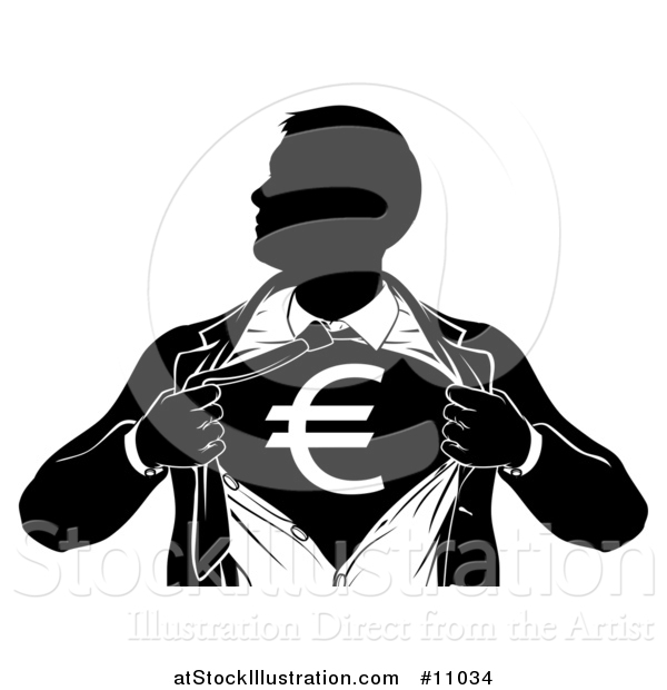 Vector Illustration of a Black and White Silhouetted Strong Business Man Super Hero Ripping off His Suit, Revealing a Euro Currency Symbol