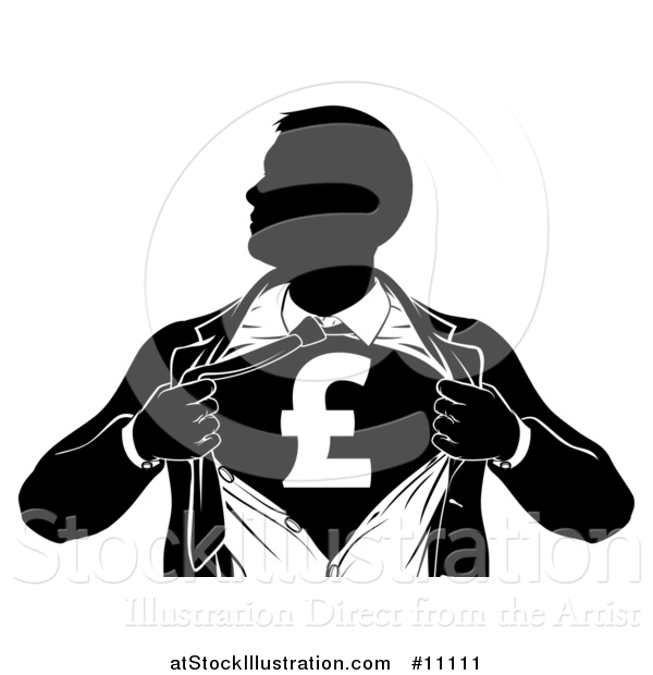 Vector Illustration of a Black and White Silhouetted Strong Business Man Super Hero Ripping off His Suit, Revealing a Pound Currency Symbol