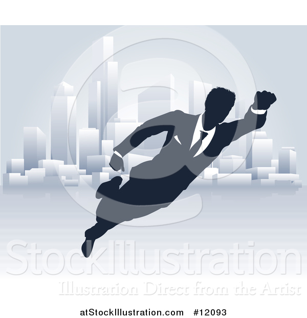Vector Illustration of a Black and White Silhouetted Super Businesss Man Flying near a City