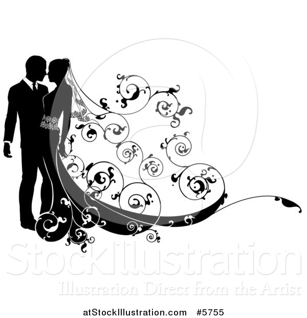Vector Illustration of a Black and White Silhouetted Wedding Couple with a Swirl Floral Train